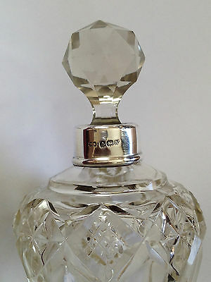 Antique CRYSTAL CUT Silver Collar Perfume Bottle Birmingham 1920 Mint Condition