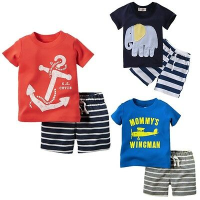 Summer Baby Kids Infant Boys 2PCS Set Tops T-shirt Shorts Outfits Clothes 1-6Y