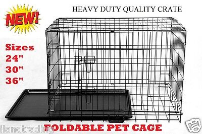 "Collapsible 2 Door Metal Wire Dog Crate Cage With Tray Pet Puppy 24"" 30"" or 36"""