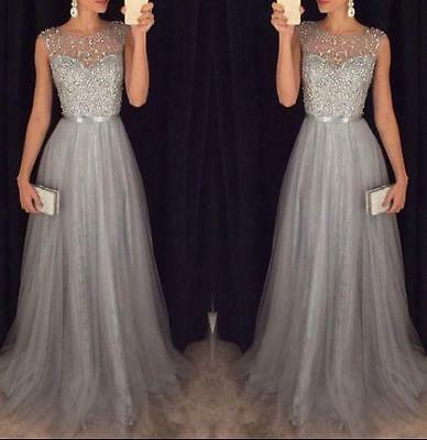 Formal Evening Sleeveless Bead Tulle A-Line Prom Gown Party Dresses Custom Size