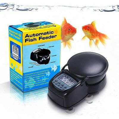 Black Digital Automatic Aquarium Auto Fish Tank  Food Feeder Feeding Timer