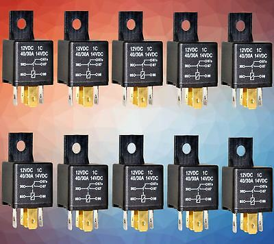 10 x 5 PIN 12 V 30A RELAY SWITCH FOR CARS & BIKES  RELAY5 , RELAY 5
