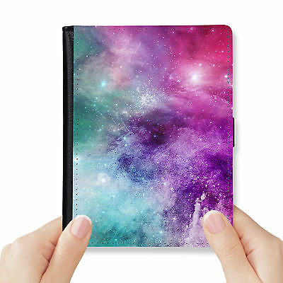 Watercolor Universe Genuine Leather Rfid Blocking Passport Cover Wallet