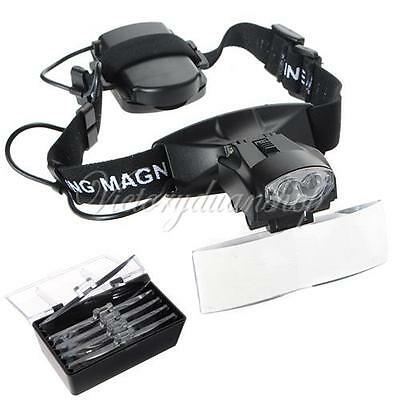 Watch Repair Jeweler 5 Lens Headband Head Strap Magnifier Loupe with LED Light