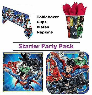 Justice League 8-48 Guest Starter Party Pack - Cups, Plates, Napkins, Tablecover