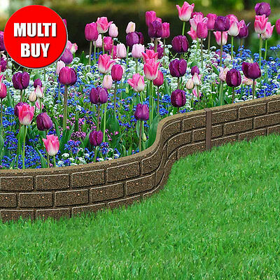 Outdoor Garden Recycled Rubber Edging - 6 x Border Bricks 1.2m Multi-Buy Lawn