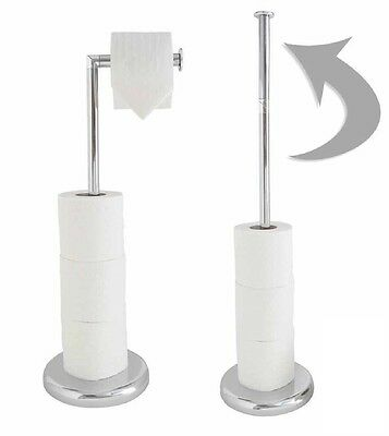 Chrome Free Standing Swivel Toilet Loo Paper Roll Holder  And Storage