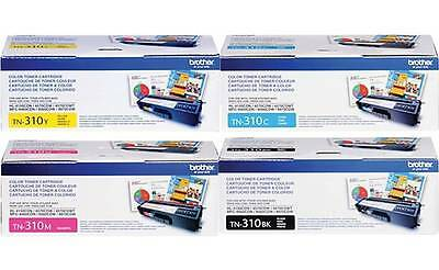 Genuine Brother TN310BK, TN310C TN310Y TN310M TONER SET MFC-9560CDW, 9970CDW