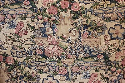 Vintage c1918 Arts & Crafts Medieval Court & Garden HandBlocked Curtain Panel