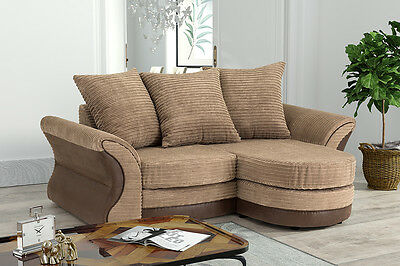 Merida Corner Sofa Lounger in Brown & Beige or Black & Grey Cord Chenille Fabric