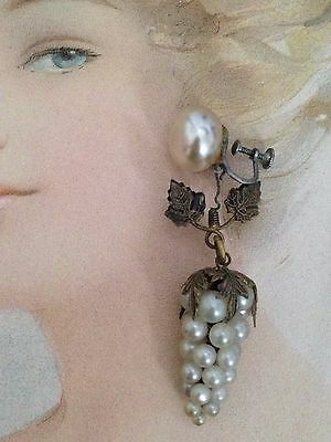 ANTIQUE RARE 19c Earrings Victorian FAB Condition Dangling Pearl Grape Clusters