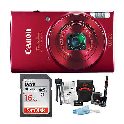 Canon PowerShot ELPH 190 IS 20 MP Digital Camera (Red) + 16GB Accessory Bundle