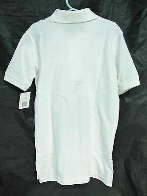 Classic School Uniform Tail Bottom White Short Sleeve Polo - Size 8