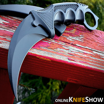 KARAMBIT FIXED BLADE TACTICAL HUNTING SURVIVAL NECK KNIFE w/ SHEATH BLACK COMBAT