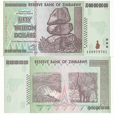 2 X ZIMBABWE 50 TRILLION DOLLARS UNCIRCULATED AA/2008 SERIES = $100 Trillion