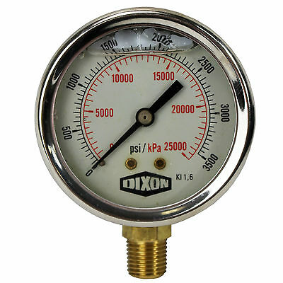 "Water and Air Pressure Gauge New 1/4"" Brass BSPT Thread 0 - 3,500psi / 25,000kpa"