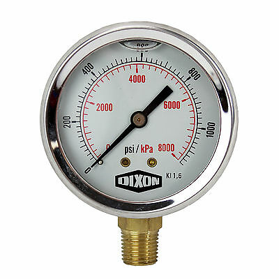 "Water and Air Pressure Gauge New 1/4"" Brass BSPT Thread 0 - 1,160psi / 8,000kpa"