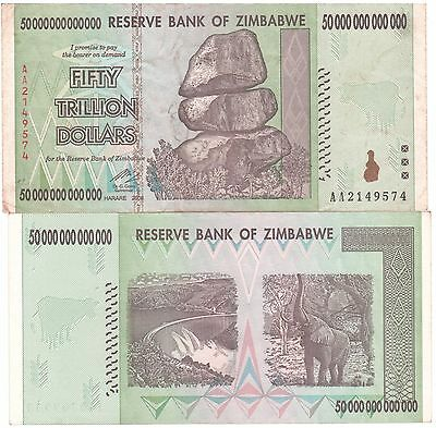 Zimbabwe 50 Trillion Dollars CIRCULATED AA/2008  / $100 Trillion Series