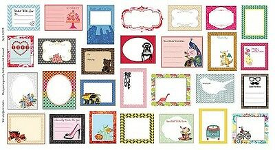 Colour Quilt Gift Label Patchwork Fabric Panel - 28 assorted labels-7770254