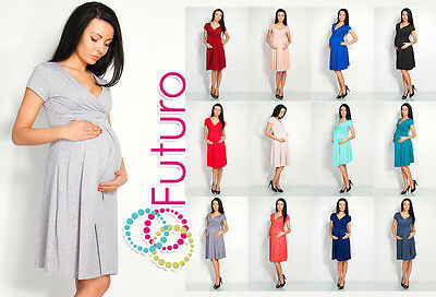 Sensible Womens Maternity Dress Short Sleeve V-Neck Pregnancy Sizes 8-18 8416