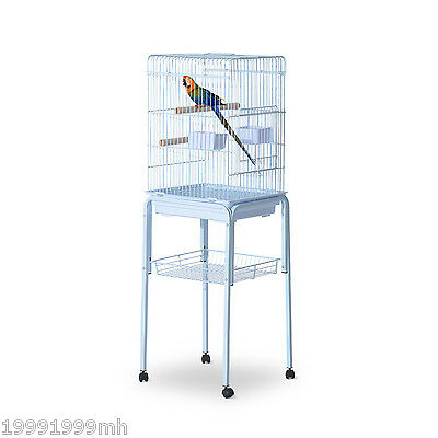 """PawHut Bird Cage 51"""" Parrot Macaw Finch Cockatoo Pet Feeding Tray Play Top White"""