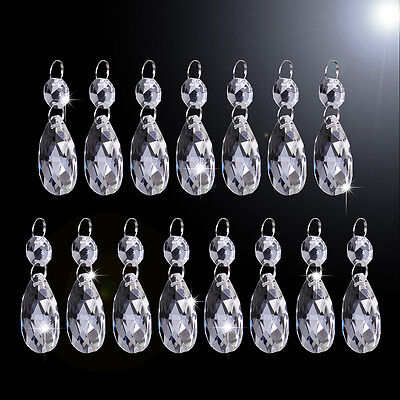 15x 38mm Clear Glass Crystal Chandelier Light Bead Drops Prisms Hanging Pendant