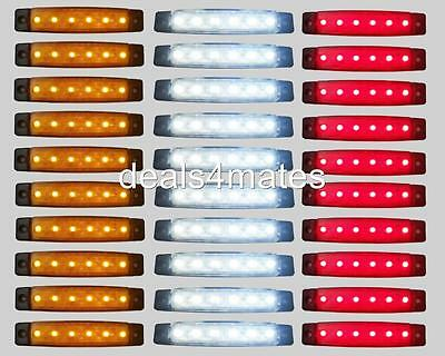90 pcs 24V LED FRONT WHITE SIDE AMBER REAR RED MARKER LIGHTS FOR TRUCK LORRY NEW