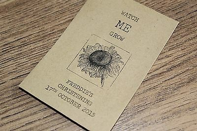 Personalised Seed Packets Envelopes Baby Christening Favours Vintage Sunflower