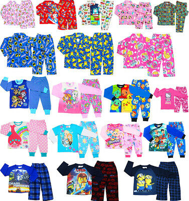 New Size 1-12 Boys Girls Kids  Pyjamas Winter Sleepwear Nighties Tshirt Tee Top