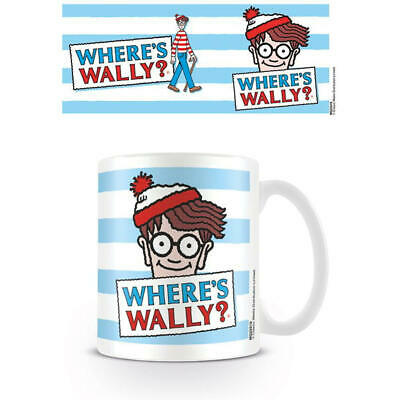 Wheres Wally Blue Stripes Mug Ceramic Cup Tea Coffee Tv Cartoon Gift Logo Retro
