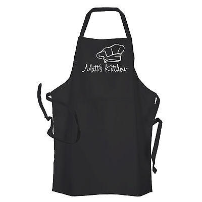 Personalised Black Mens Kitchen Cooking Chef  Apron by Inspired Creative Design