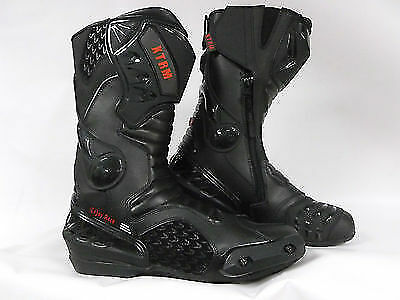 Xtrm Core Motorbike Motorcycle Leather Sports Armour Boots All Black New