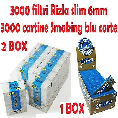 3000 FILTRI RIZLA SLIM 6mm + 3000 CARTINE SMOKING BLU CORTE + accendino