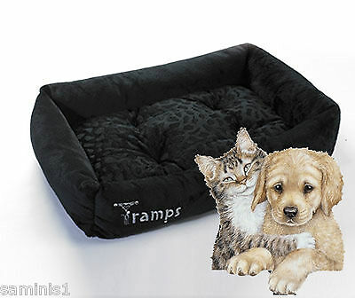 New~Cat Or Small Dog Lounger~Black Micro Plush-Removeable Cushion & Machine Wash