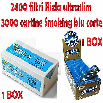 2400 Filtri Rizla Ultraslim + 3000 Cartine Smoking Blu Corte
