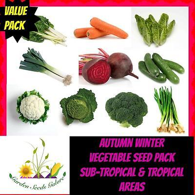 Autumn Winter Heritage Vegetable Seeds Bulk Mix 10 Packs Sub-Tropical & Tropical