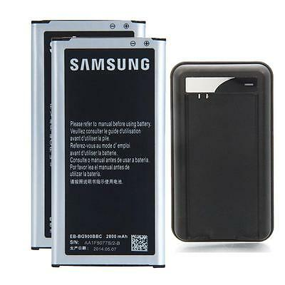 2X 2800mAh Batteries EB-BG900BBC + Charger for Samsung Galaxy S5 i9600 Non NFC