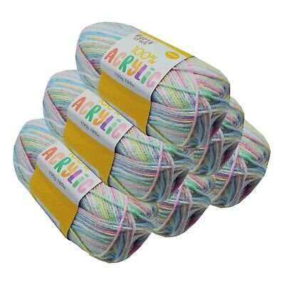 Super Soft Acrylic Knitting Yarn 100g 8 Ply 189m Multi Flutterby