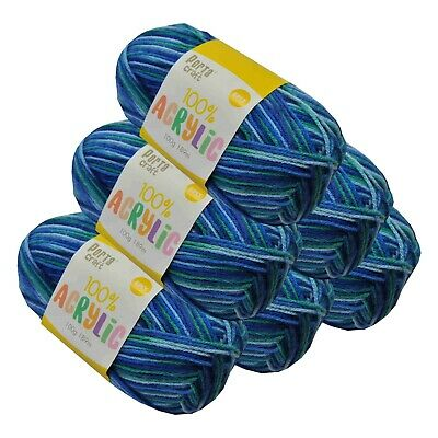 Super Soft Acrylic Knitting Yarn 100g 8 Ply 189m Multi Ocean