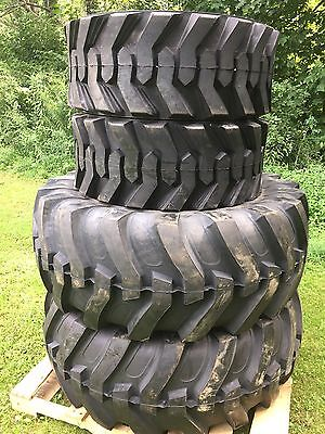 2 NEW 19.5L-24 & 2 14-17.5 Backhoe Tires R4 - 19.5LX24 - 4 tire combo