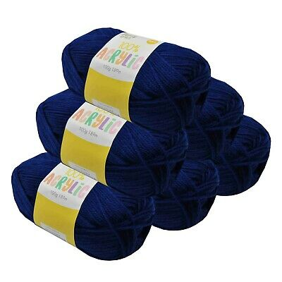 Super Soft Acrylic Knitting Yarn 100g 8 Ply 189m Solid Royal Blue