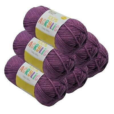 Super Soft Acrylic Knitting Yarn 100g 8 Ply 189m Solid Lilac