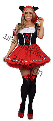 Adult Sexy Red Riding Hood Costume Classified Hen Party Fancy Dress FREE POST (C
