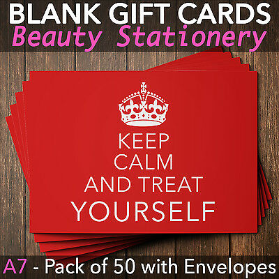 Beauty Salon Gift Voucher Template Blank Card Coupon Nail Massage x50+Envelopes
