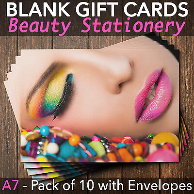 Gift Voucher Card Beauty Massage Nail Salons Hairdressers x10+Envelopes CLF