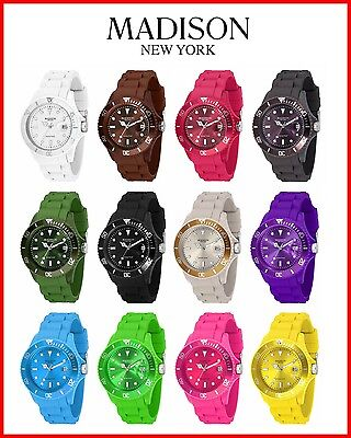 Madison New York Candy Time Original Silikon Uhr Damen Gummi Bunte Farbige Uhren