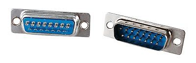 Glaxio® 2x Sub-D Plugs 15p D-Connector with solder bucket termination 15Pin