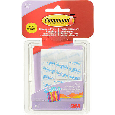 Command TM Party Small Clear Mounting Strips 18 Strips/Pkg 17807