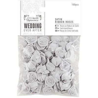 Papermania Ever After Wedding Ribbon Roses 15mm 100/Pkg Silver Satin PM158580