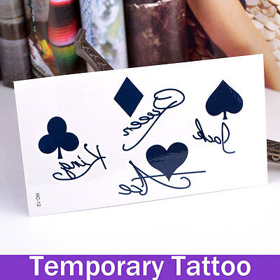 Tattoo Waterproof Party Poker  Ace Jack Body Art Temporary Tattoo Uk